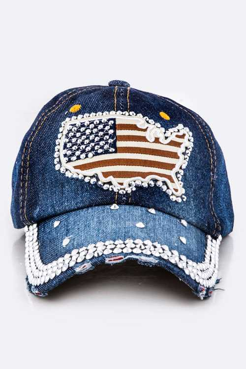 US Map Crystal Embellished Fashion Denim Cap