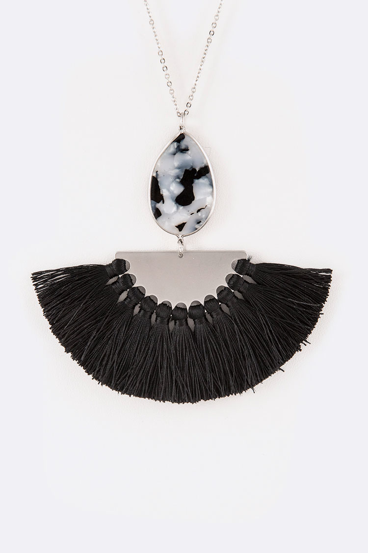Celluloid Mix Media Tassel Pendant Necklace