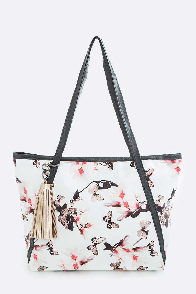 Flower & Butterfly Print Tote Bag