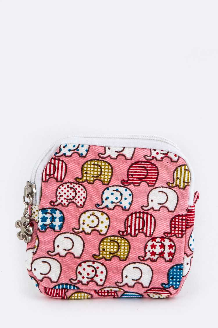Elephant Pattern Canvas Pouch