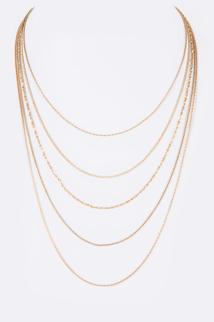 5 Layered Dainty Chain Necklace