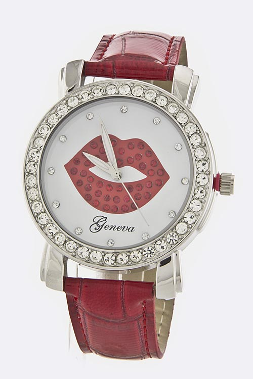Crystal Lips Dial Watch