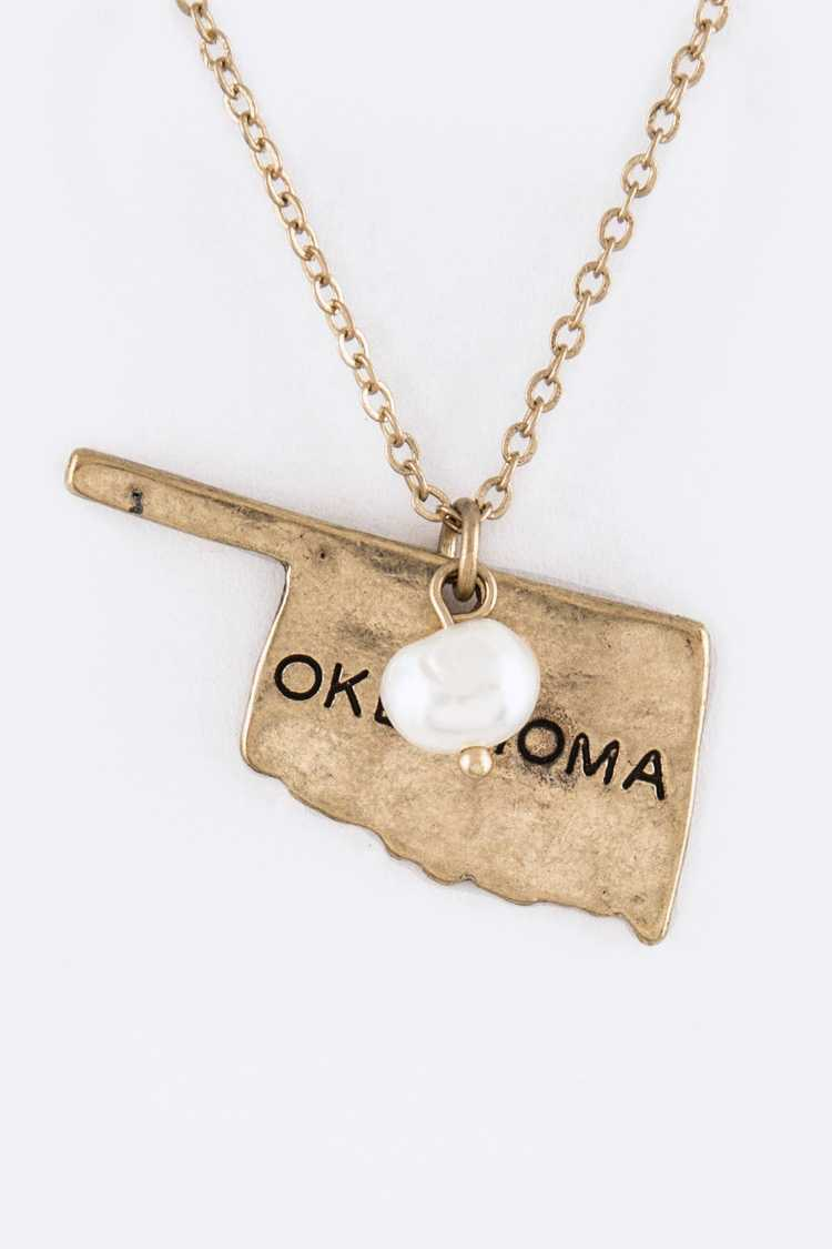OKLAHOMA Map Pendant Necklace Set