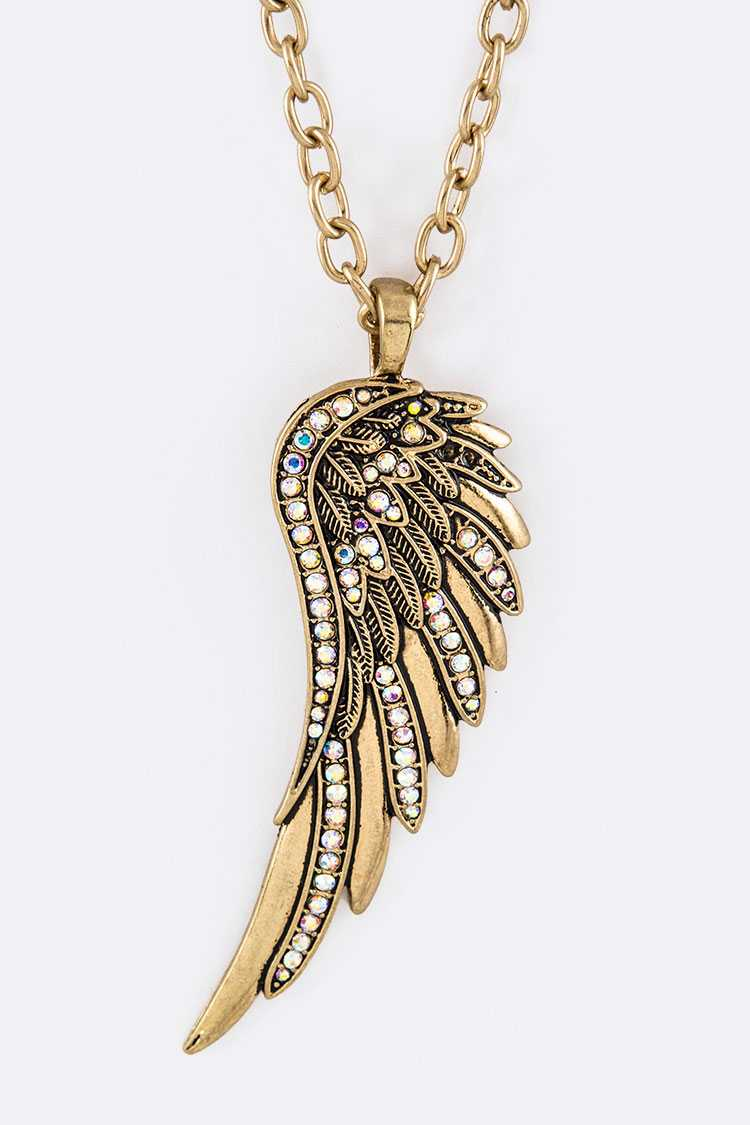 Crystal Wing Pendant Necklace