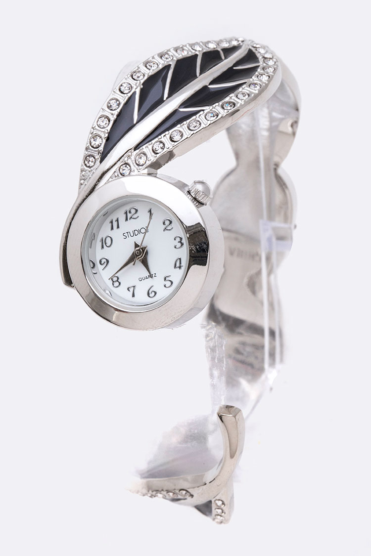Crystal Leaf Accent Open Bangle Watch