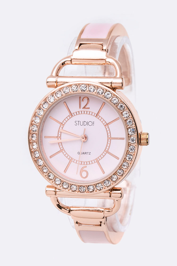 Crystal Bezel Pink Dial Bangle Watch