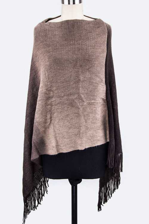Ombre Soft Fringe Poncho