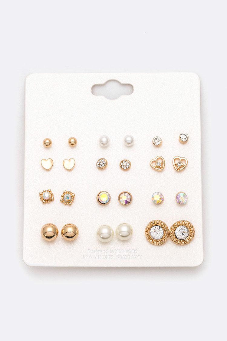 12 Pairs Mix Studs Earring Set