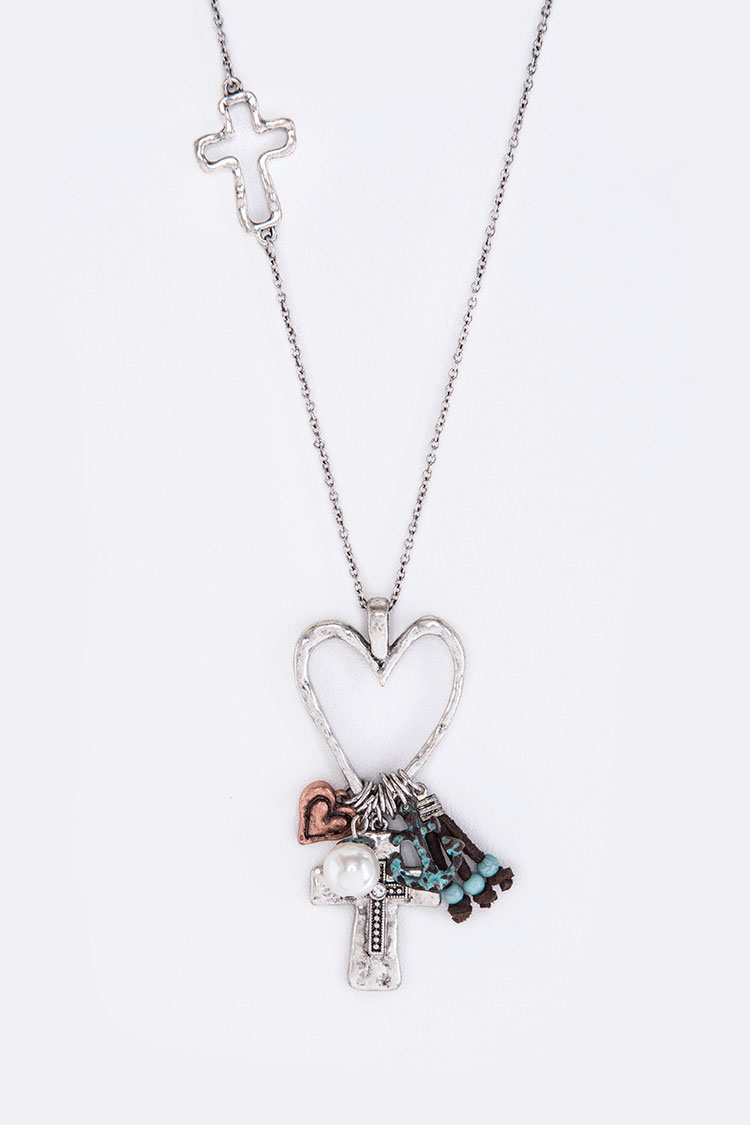 Heart Hoop & Mix Charms Necklace