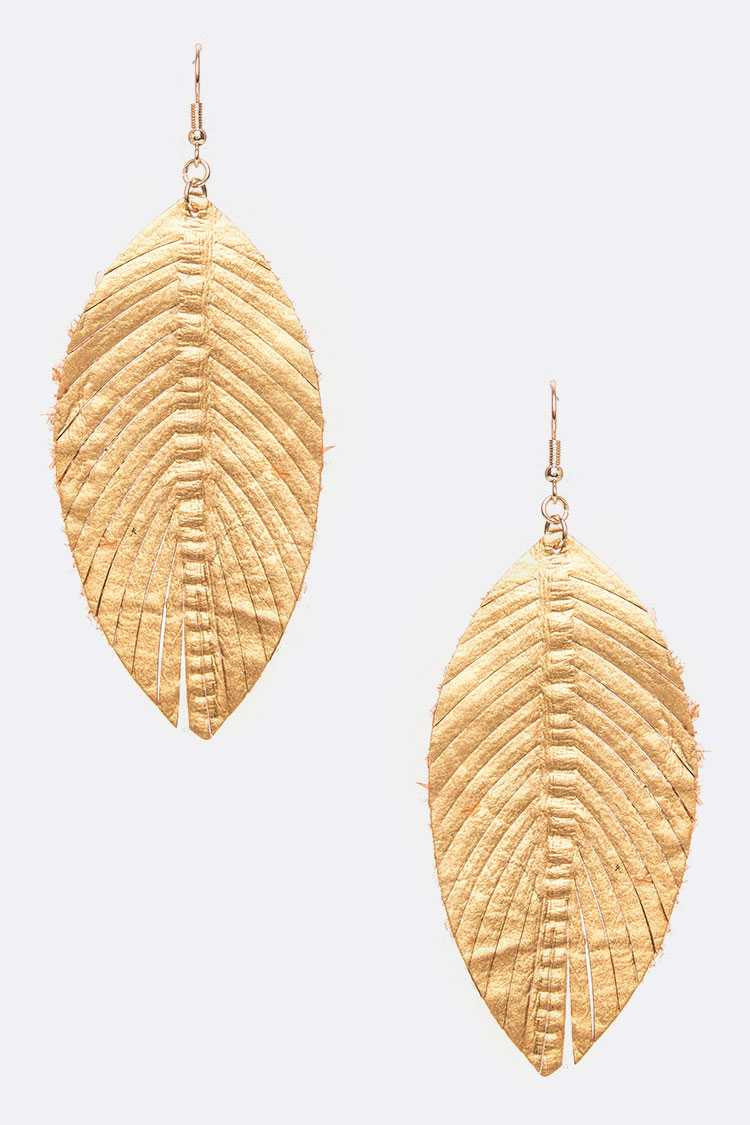 Embossed Cutout Leather Earrings