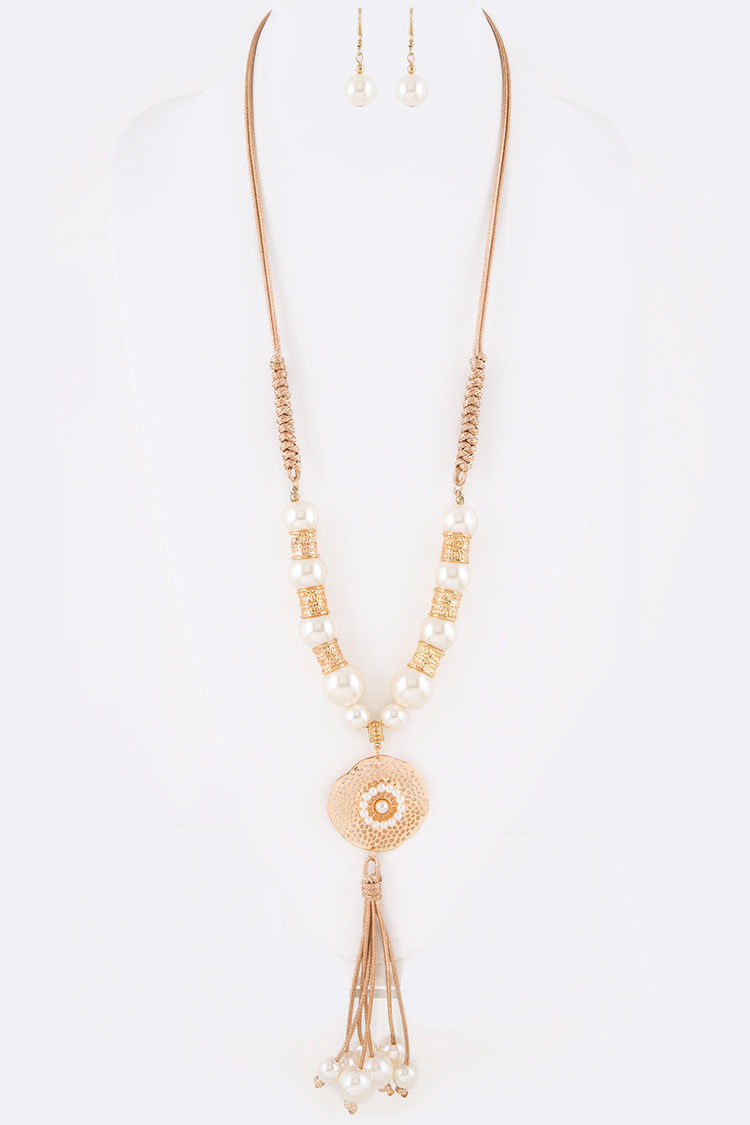 Pearl Accent Filigree Pendant Necklace Set