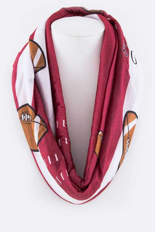 Football Printed Fashion Infinity Scarf