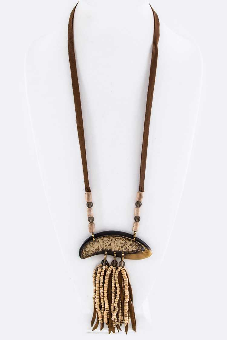 Wooden Beads & Suede Tassels Necklace
