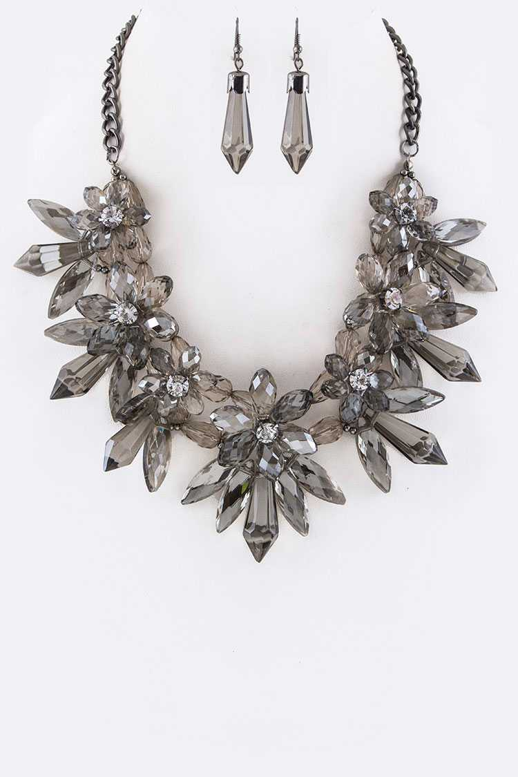Crystal & Bead Flower Statement Necklace Set