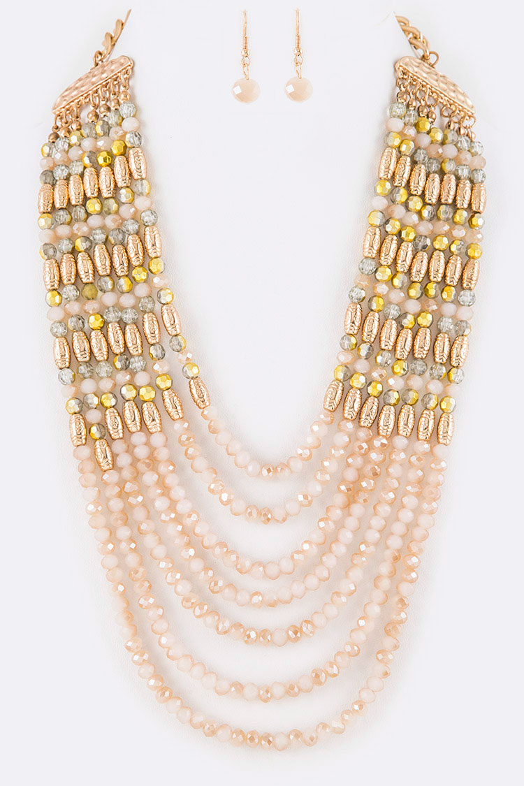 Crystal Layer Statement Layer Necklace Set