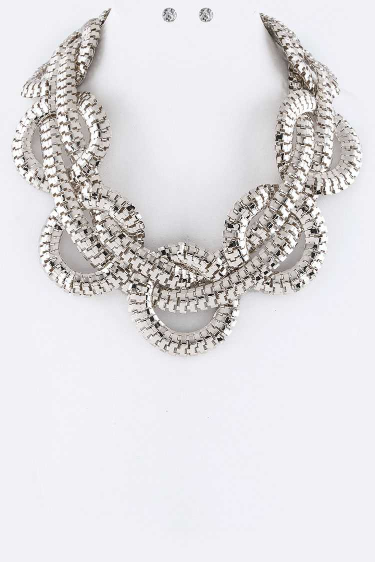 Braiding Chain Statement Necklace Set