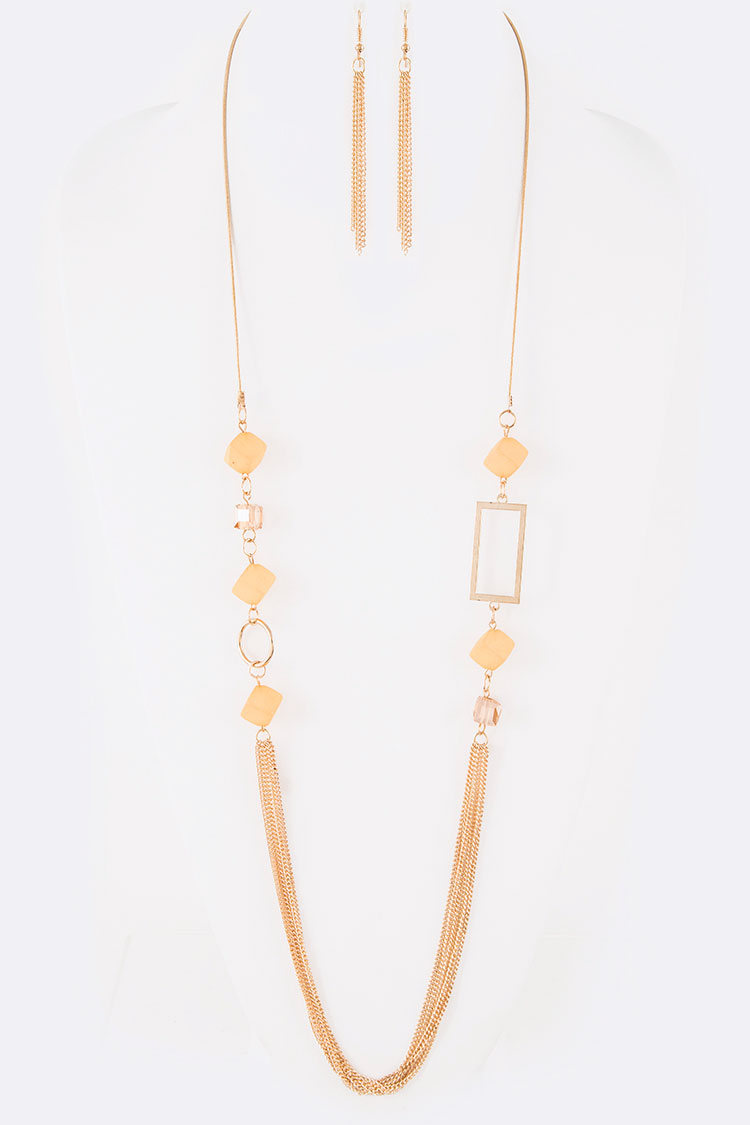 Mix Glass Beads Chain Layered Long Necklace Set