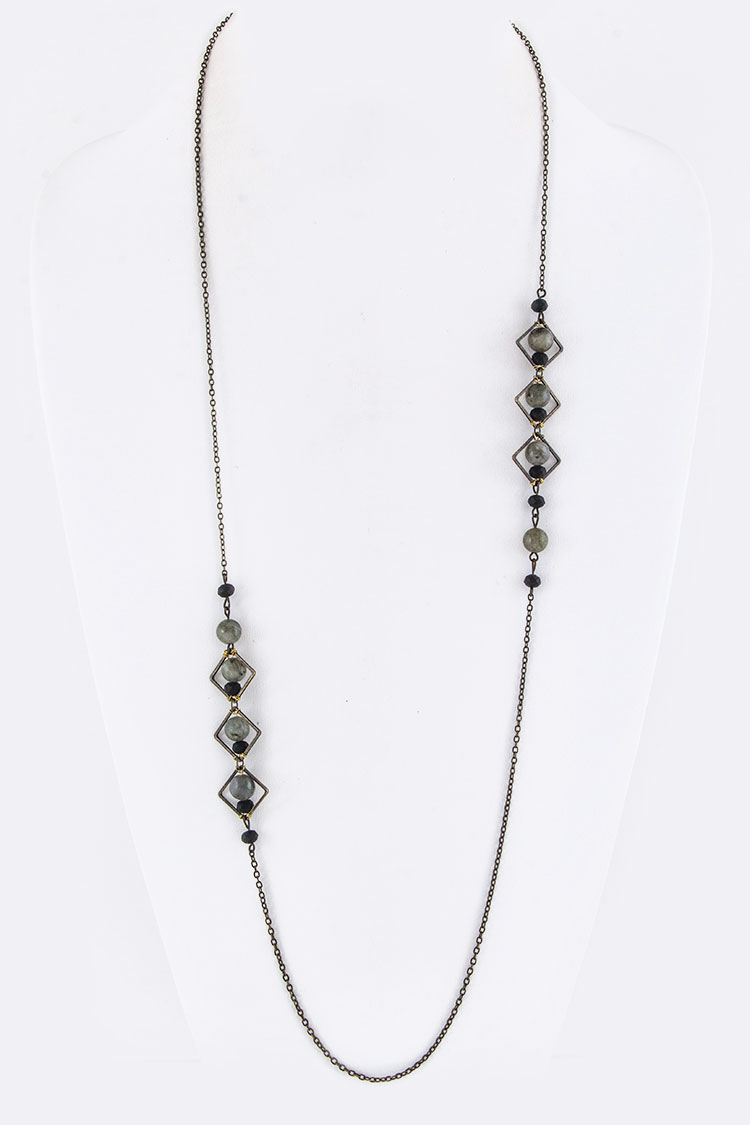 Mix Beads & Metal Rhombus Necklace
