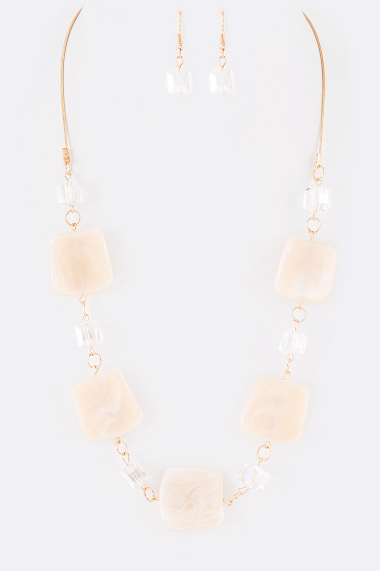 Mix Media Resin Crystal Station Necklace Set