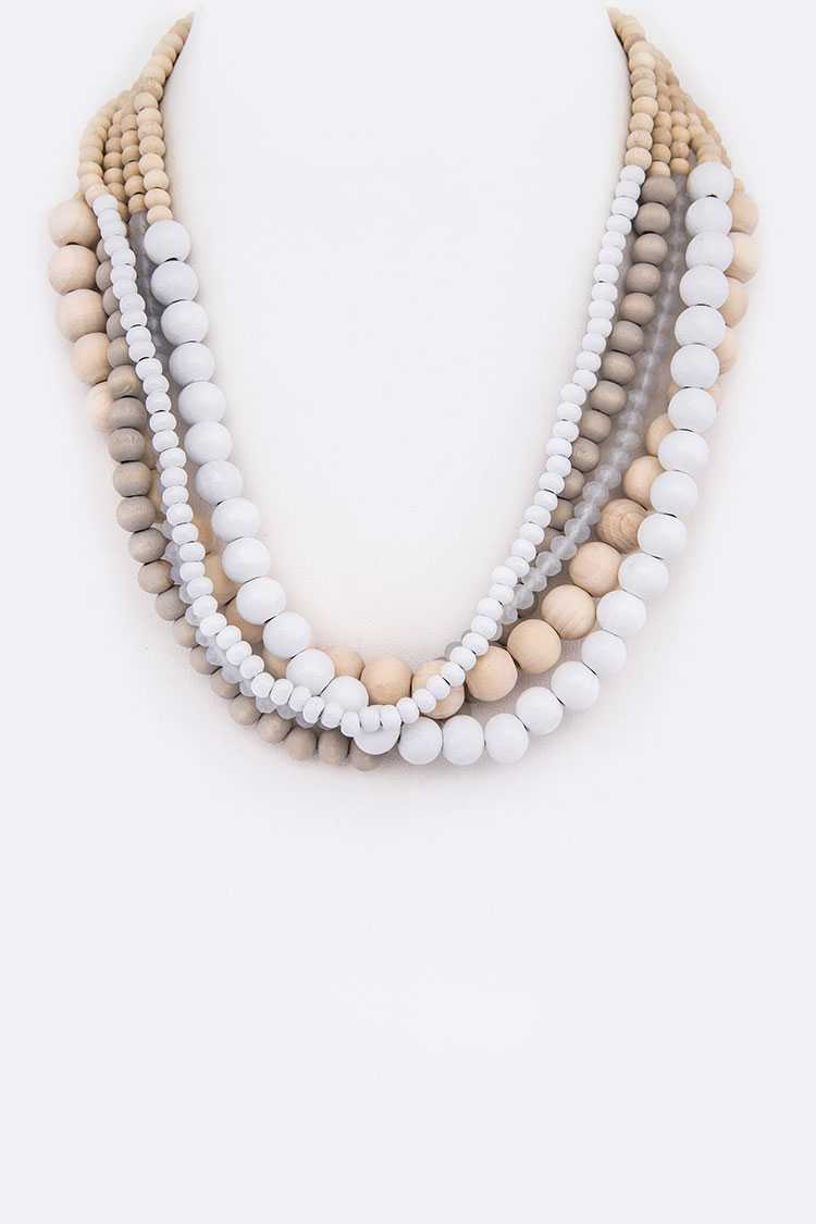 Mix Color Beads Strand Necklace