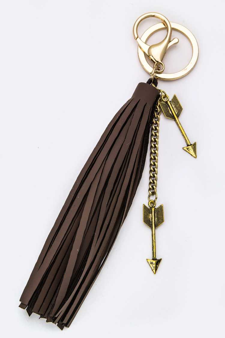 Arrow Charms & Leather Tassel Key Charm