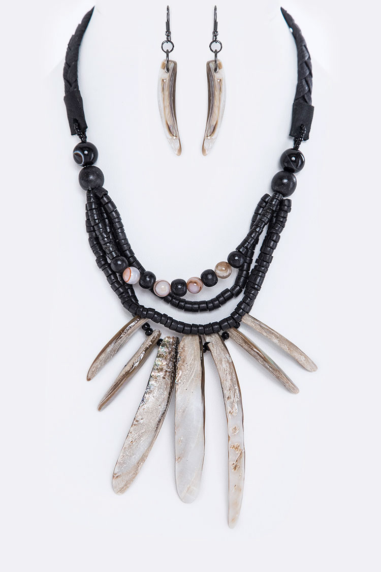 Mix Beads & Shell Bars Statement Necklace Set