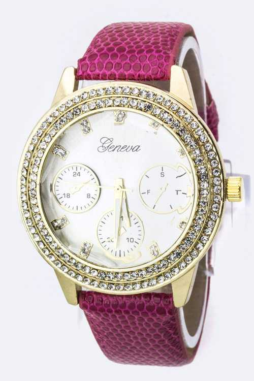 Crystal Bezel & Textured Band Fashion Watch