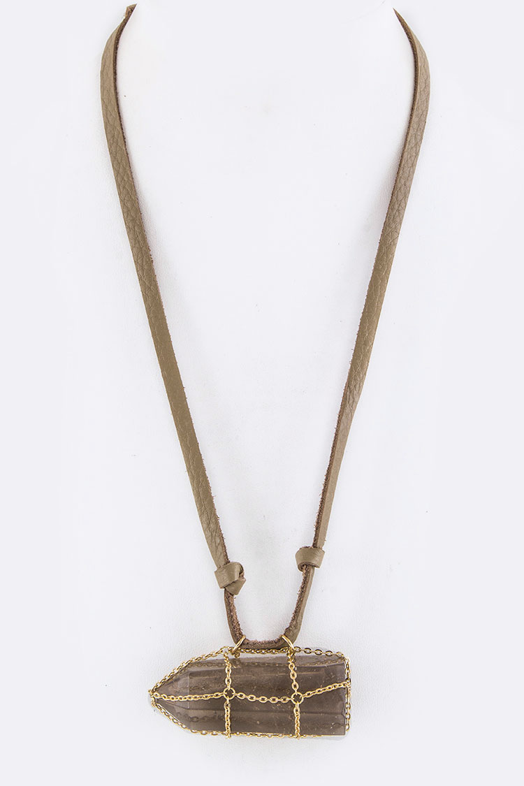 Chain Wrap Jumbo Quartz Suede Necklace