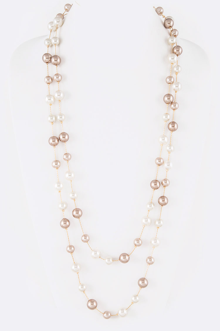"Mix Pearls Station 64"" Convertible Necklace"