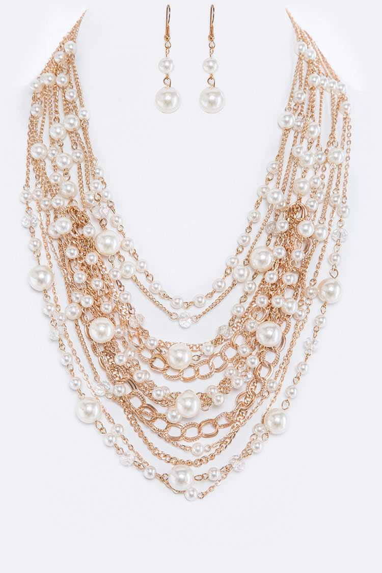 Layer Pearls Necklace Set