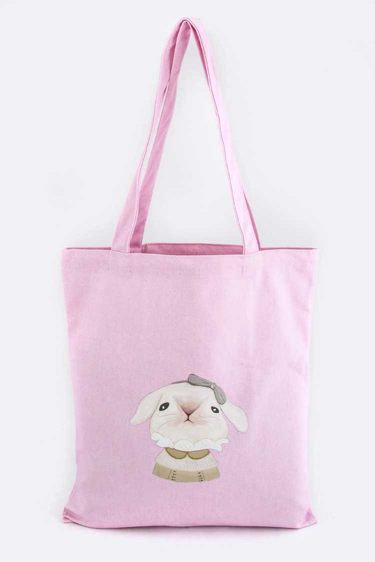 Dressed Bunny Print Canvas Tote