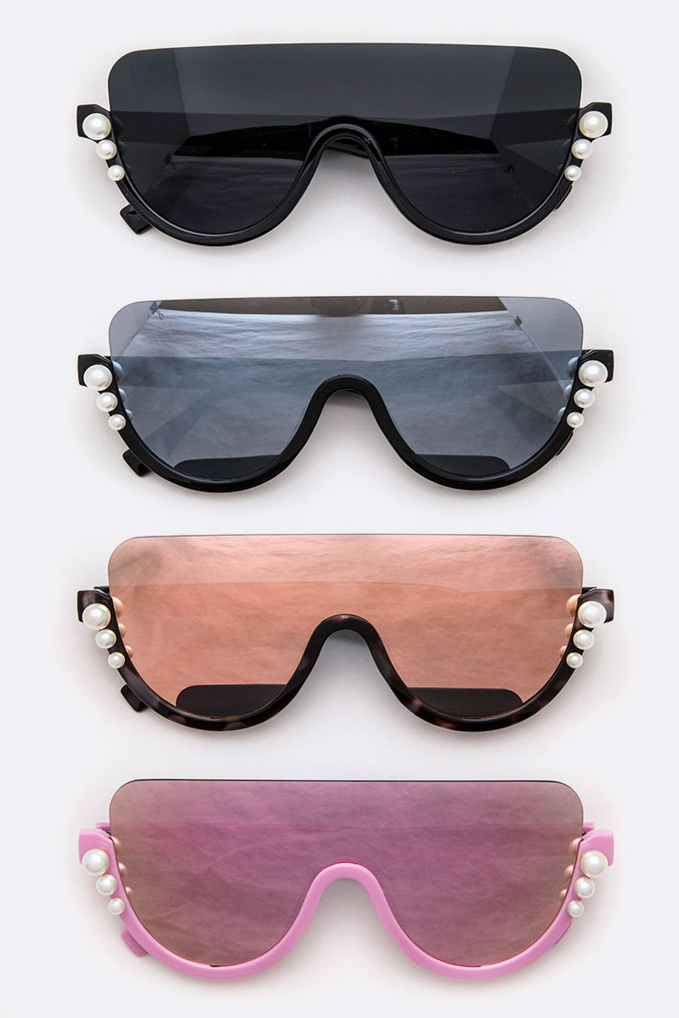 Pearl Accent Unibrow Iconic Sunglasses