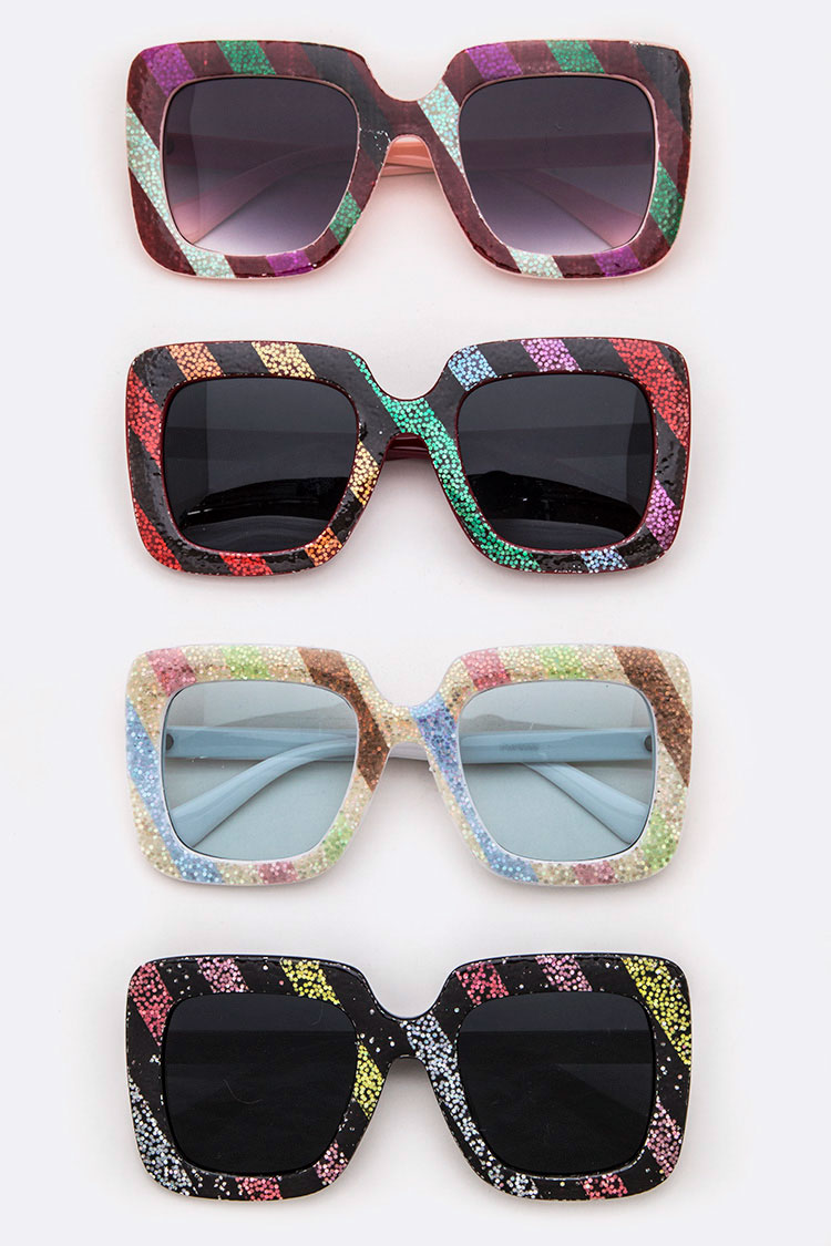 Rainbow Glitter Iconic Square Sunglasses