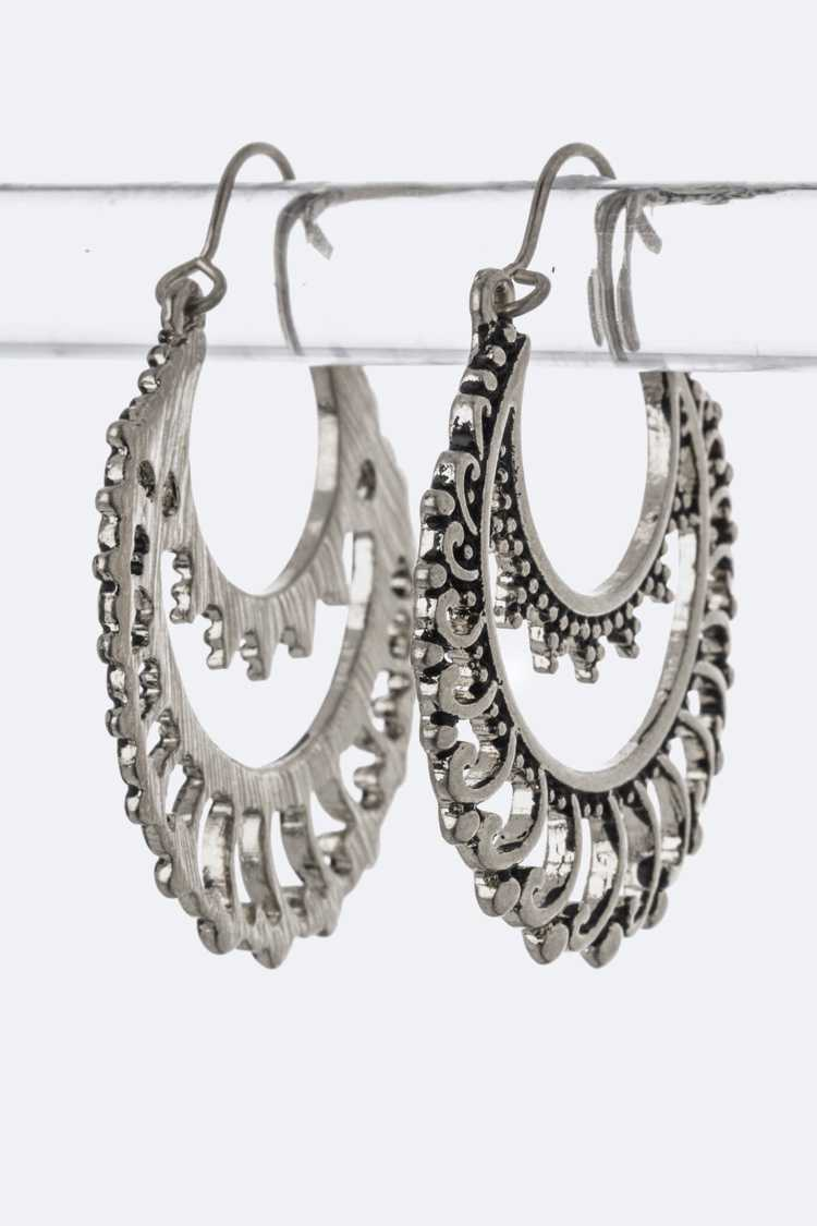 Filigree Crescent Hoop Earrings