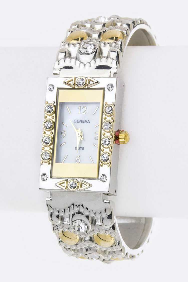Pave Crystals Scale Textured Bangle Watch