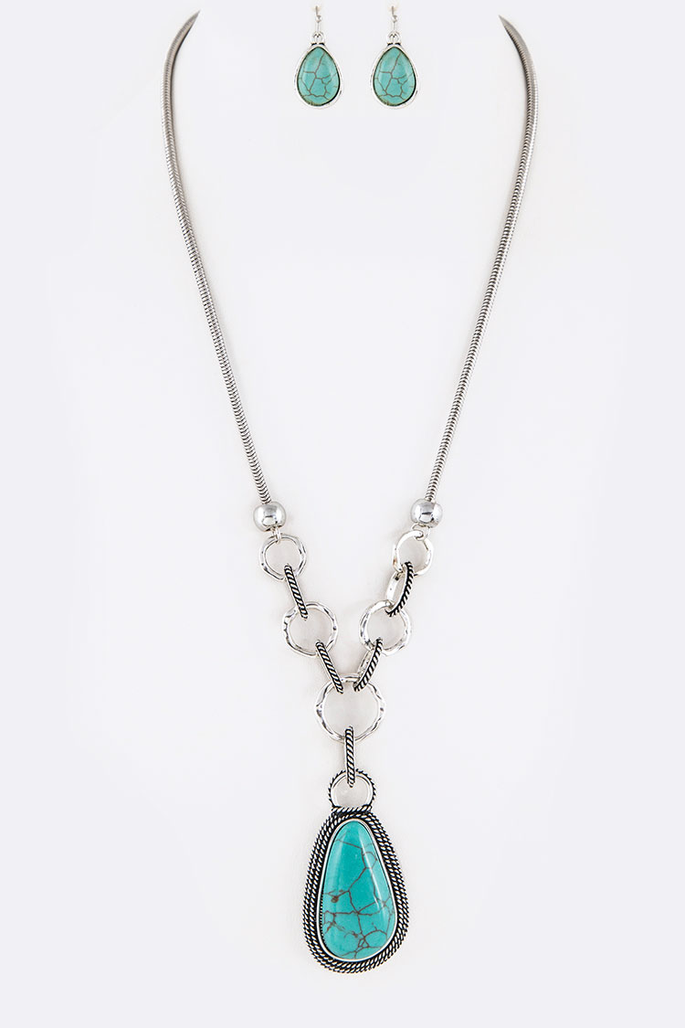 Turquoise Teardrop Pendant Textured Ring Necklace Set