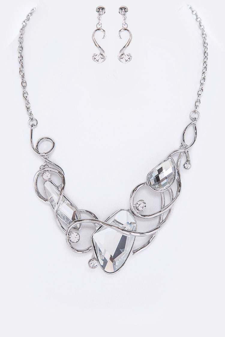 Swirly Glass Stone Statement Necklace Set