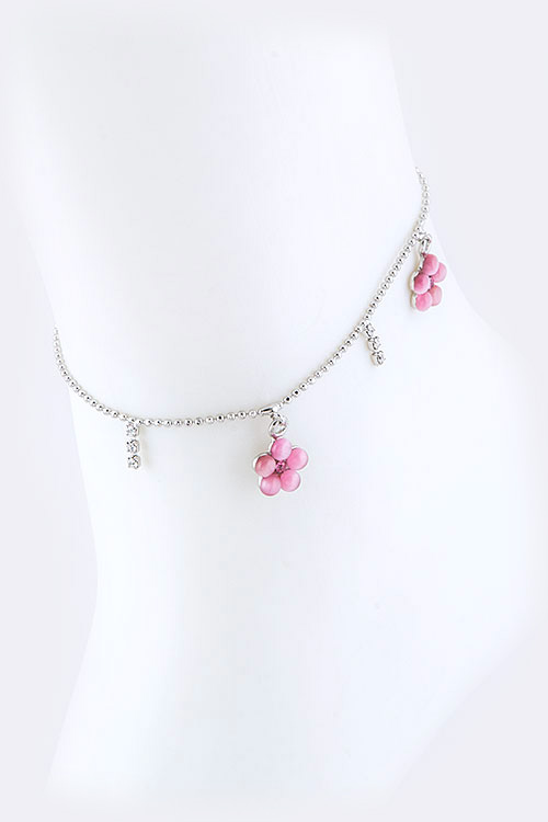 Crystal Flower Drop Anklet