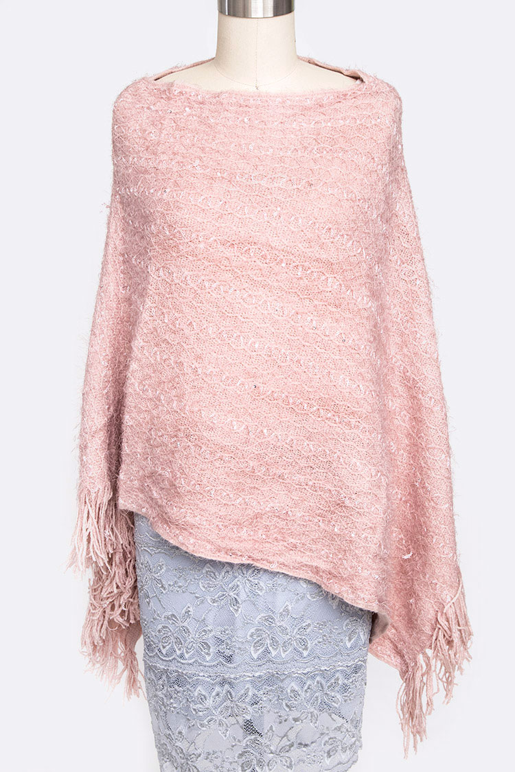 Sequins Plushy Fashion Poncho