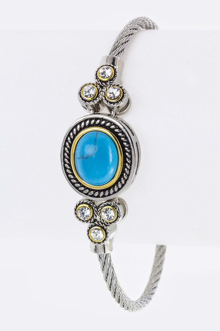 Turquoise & Crystal Charm Designer Bangle