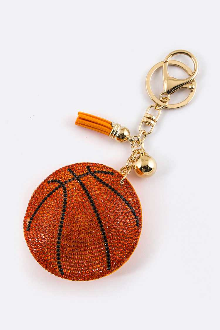 Crystal Basketball Key Charm