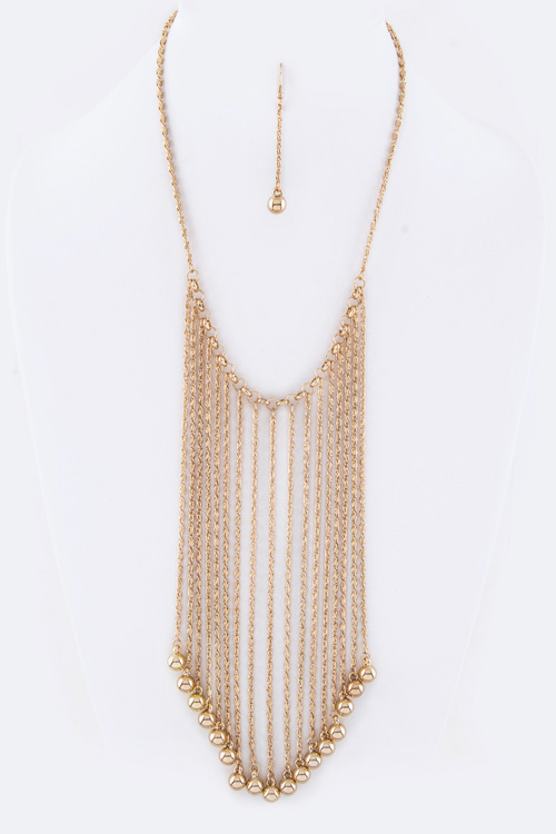 Layered Ball Drops Bib Necklace Set