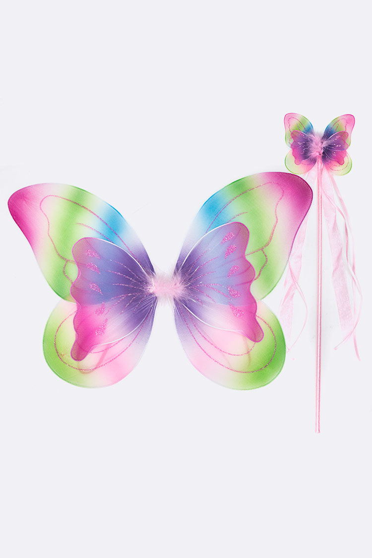 Layer Butterfly Wing & Wand Kids Dress Up Set