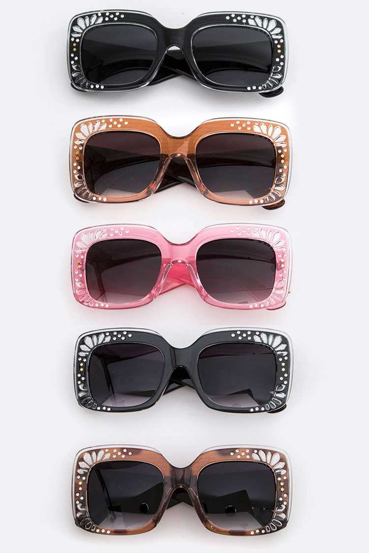 Clear Embossed Frame Square Sunglasses