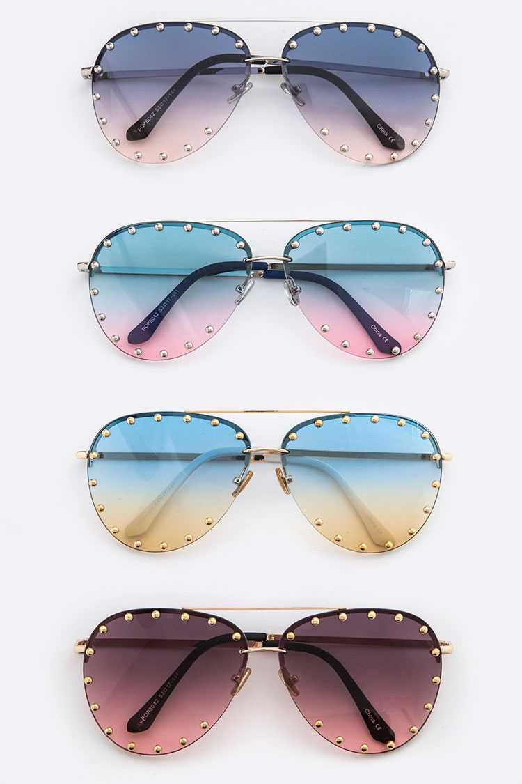 Studded Gradient Lens Aviator Sunglasses