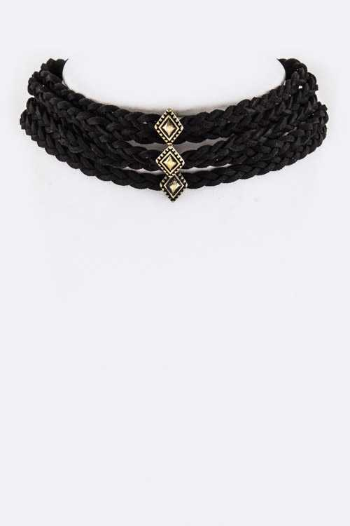 Rhombus Sliders & Braid Layer Choker Necklace