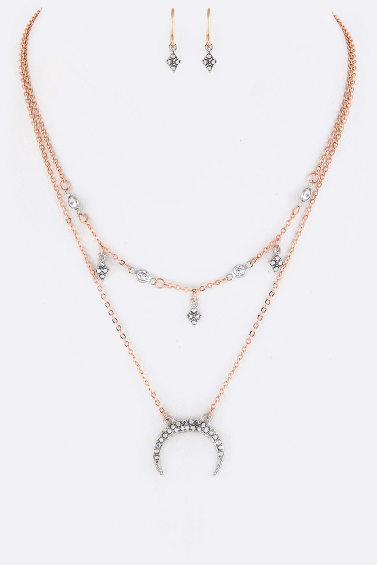 Crystal Crescent Pendant Layer Necklace Set