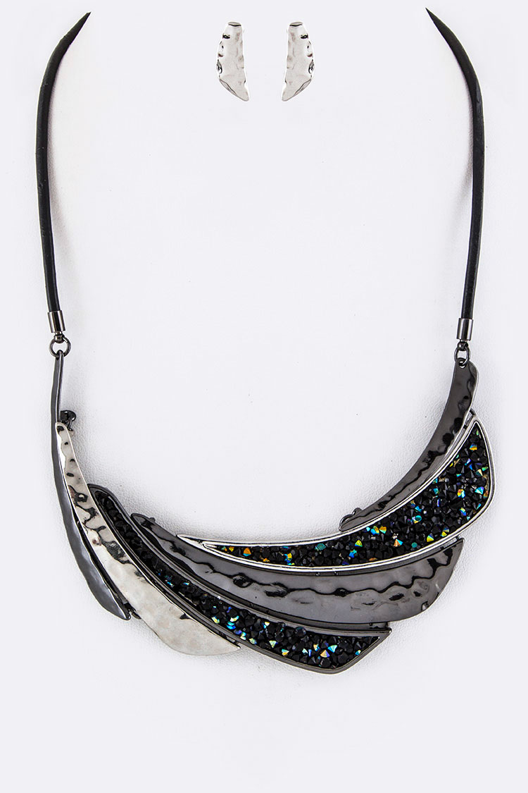 Pave Crystals & Metal Swash Plates Necklace Set