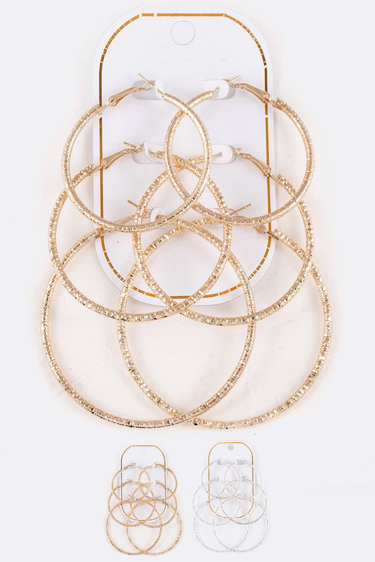 Mix Size Textured Hoop Earrings Set