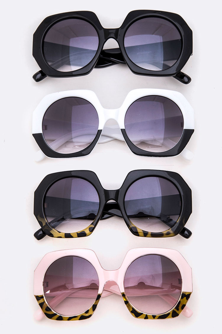 2 Tone Oversize Iconic Sunglasses Set